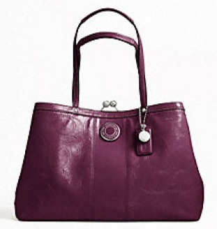 Coach Signature Stripe Stitched Patent Framed Carryall - Plum F19215, 780, Handbags, Coach