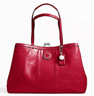 Coach Signature Stripe Stitched Patent Framed Carryall - Red F19215, 780, Handbags, Coach