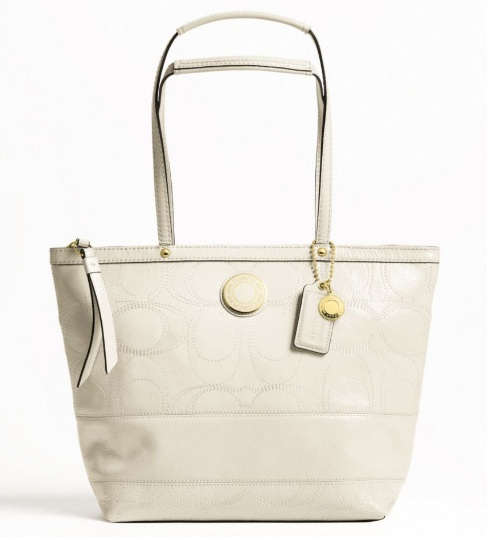 8ca17327b77c Option 5  Coach Signature Stripe Stitched Patent Tote Ivory F1919 (Sales  Price  RM499 Usual Price  RM1450)