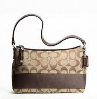 Coach Signature Stripe Top Handle Pouch - Khaki Mahogany F45799, 440, Handbags, Coach