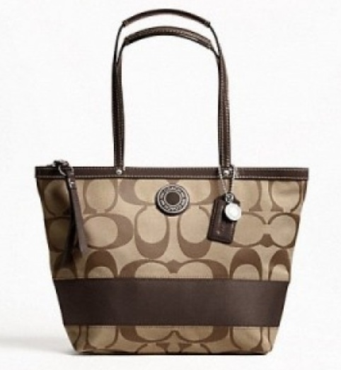Coach Signature Stripe Tote - Khaki Mahogany F19046, 620, Handbags, Coach