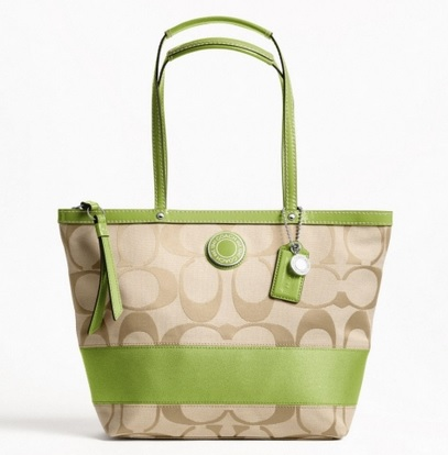 Coach Signature Stripe Tote - Light Khaki Apple F19046, 620, Handbags, Coach