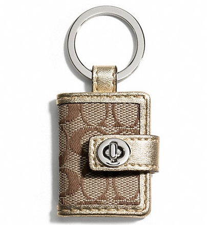 Coach Signature Turnlock Picture Frame Key Ring - Khaki Metallic F65817, 140, Accessories, Coach