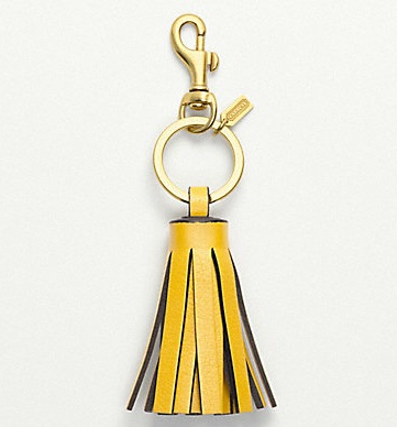 Coach Single Legacy Tassel Key Ring - Sunflower 62376, 175, Accessories, Coach