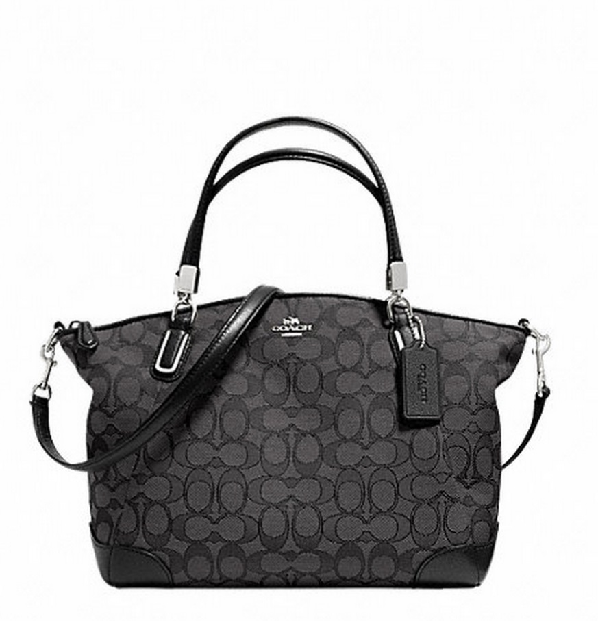 Coach Small Kelsey Satchel In Signature With Leather Trim - Black Smoke Black F36181, 720, Handbags, Coach