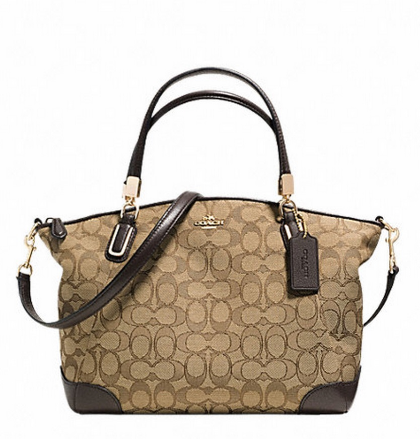 Coach Small Kelsey Satchel In Signature With Leather Trim - Khaki Brown F36181, 720, Handbags, Coach