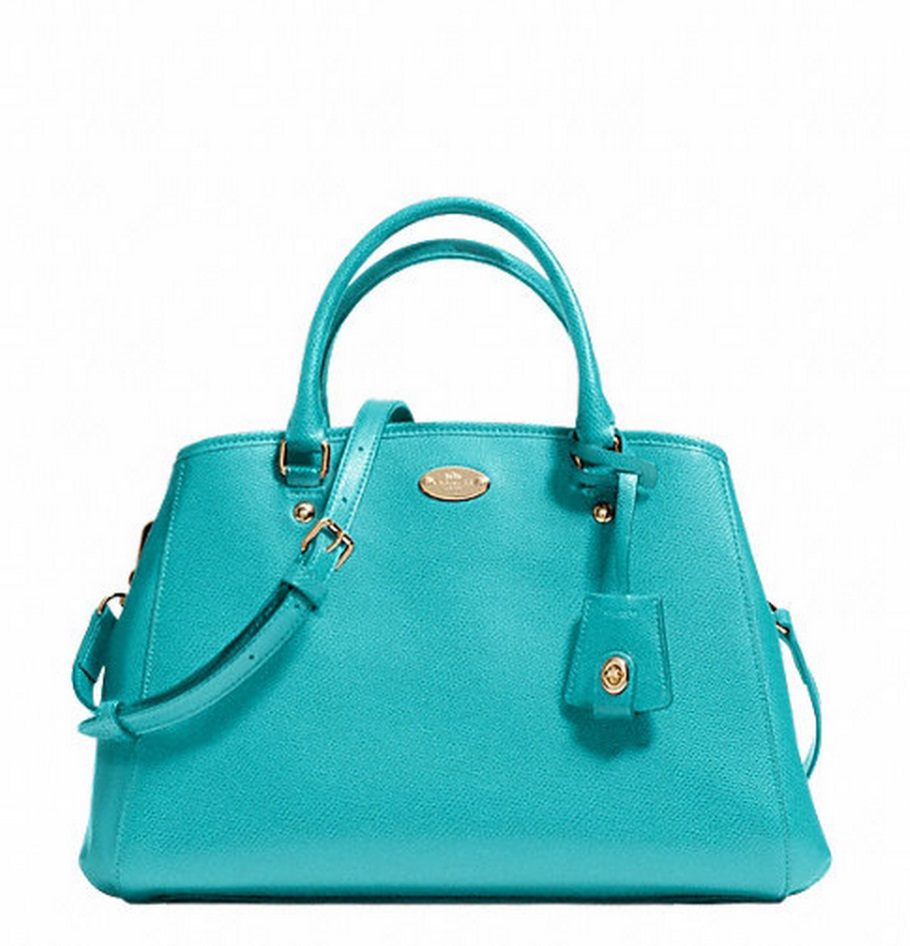 Coach Small Margot Carryall in Leather - Cadet Blue F34607, 890, Handbags, Coach