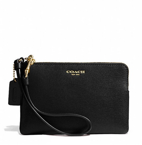 Coach Small Wristlet in Saffiano Leather - Black 51197, 265, Wristlets, Coach