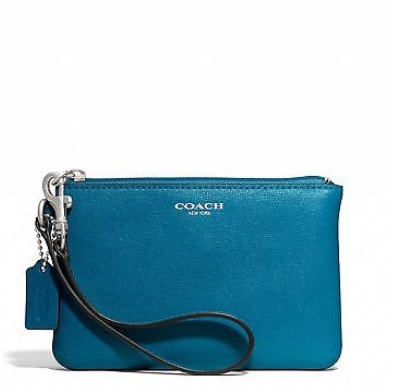 Coach Small Wristlet in Saffiano Leather - Dark Plume 49377, 260, Wristlets, Coach