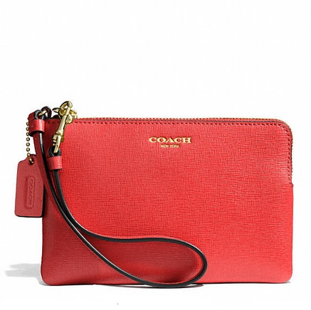 Coach Small Wristlet in Saffiano Leather - Love Red 51197, 265, Wristlets, Coach