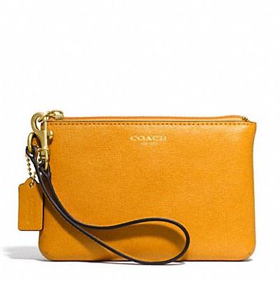 Coach Small Wristlet in Saffiano Leather - Marigold 49377, 250, Wristlets, Coach