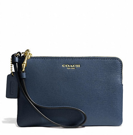 Coach Small Wristlet in Saffiano Leather - Navy 51197, 265, Wristlets, Coach