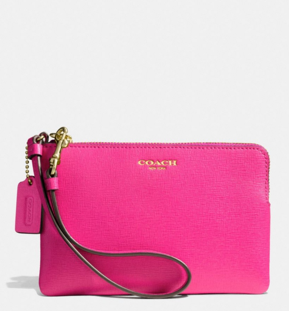 Coach Small Wristlet in Saffiano Leather - Pink Ruby 51197B, 250, Wristlets, Coach