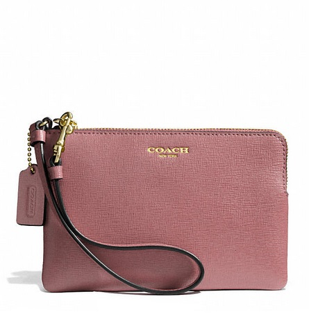 Coach Small Wristlet in Saffiano Leather - Rouge 51197, 250, Wristlets, Coach