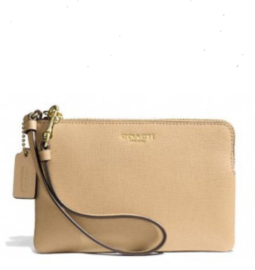 Coach Small Wristlet in Saffiano Leather - Tan 51197B, 250, Wristlets, Coach