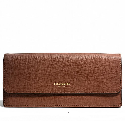 Coach Soft Wallet in Saffiano Leather - Chestnut 49350, 550, Wallets, Coach