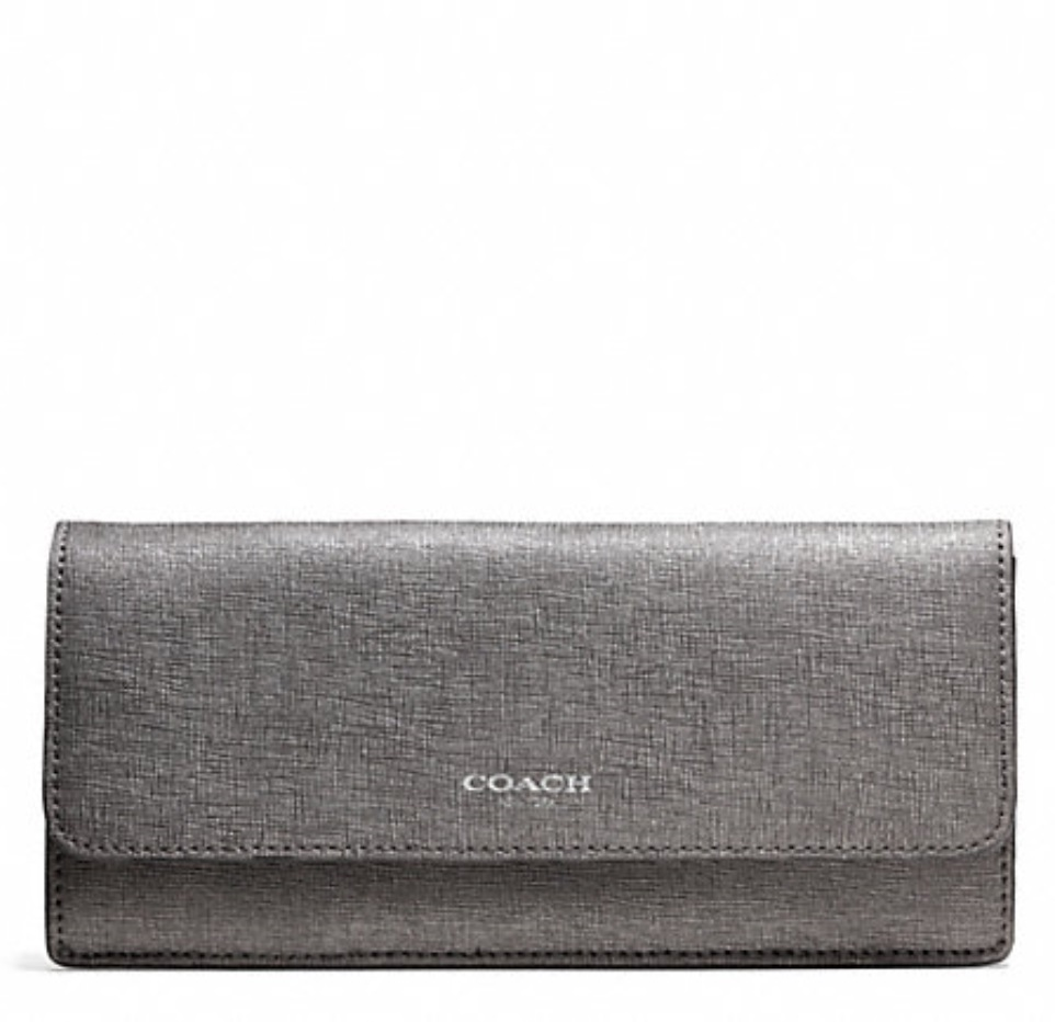 Coach Soft Wallet in Saffiano Leather - Gunmetal 49350, 490, Wallets, Coach