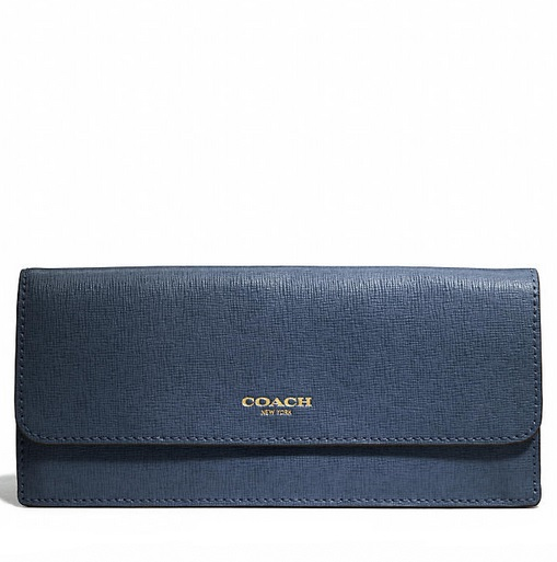 Coach Soft Wallet in Saffiano Leather - Navy 49350, 550, Wallets, Coach