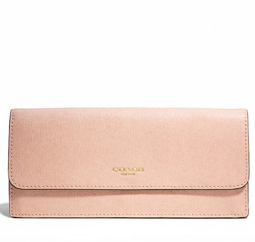 Coach Soft Wallet in Saffiano Leather - Peach Rose 49350, 550, Wallets, Coach