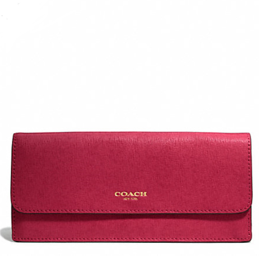 Coach Soft Wallet in Saffiano Leather - Scarlet 49350, 490, Wallets, Coach