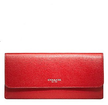Coach Soft Wallet in Saffiano Leather - Vermillion 49350, 490, Wallets, Coach
