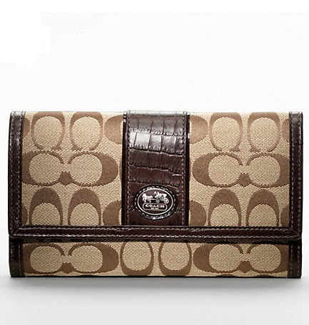 Coach Sutton Signature Checkbook Wallet - Khaki Mahogany 45962, 530, Wallets, Coach