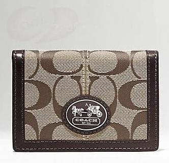 Coach Sutton Signature Double Passcase - Khaki Mahogany 43975, 220, Accessories, Coach