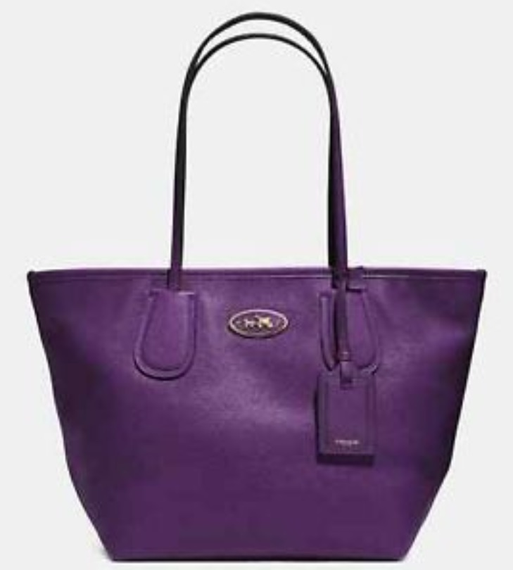 Coach Taxi Zip Top Tote In Leather - Violet 33915, 850, Handbags, Coach