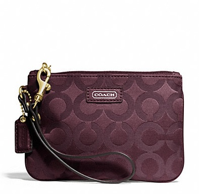 Coach Taylor Op Art Sateen Small Wristlet - Bordeaux F50423, 220, Wristlets, Coach