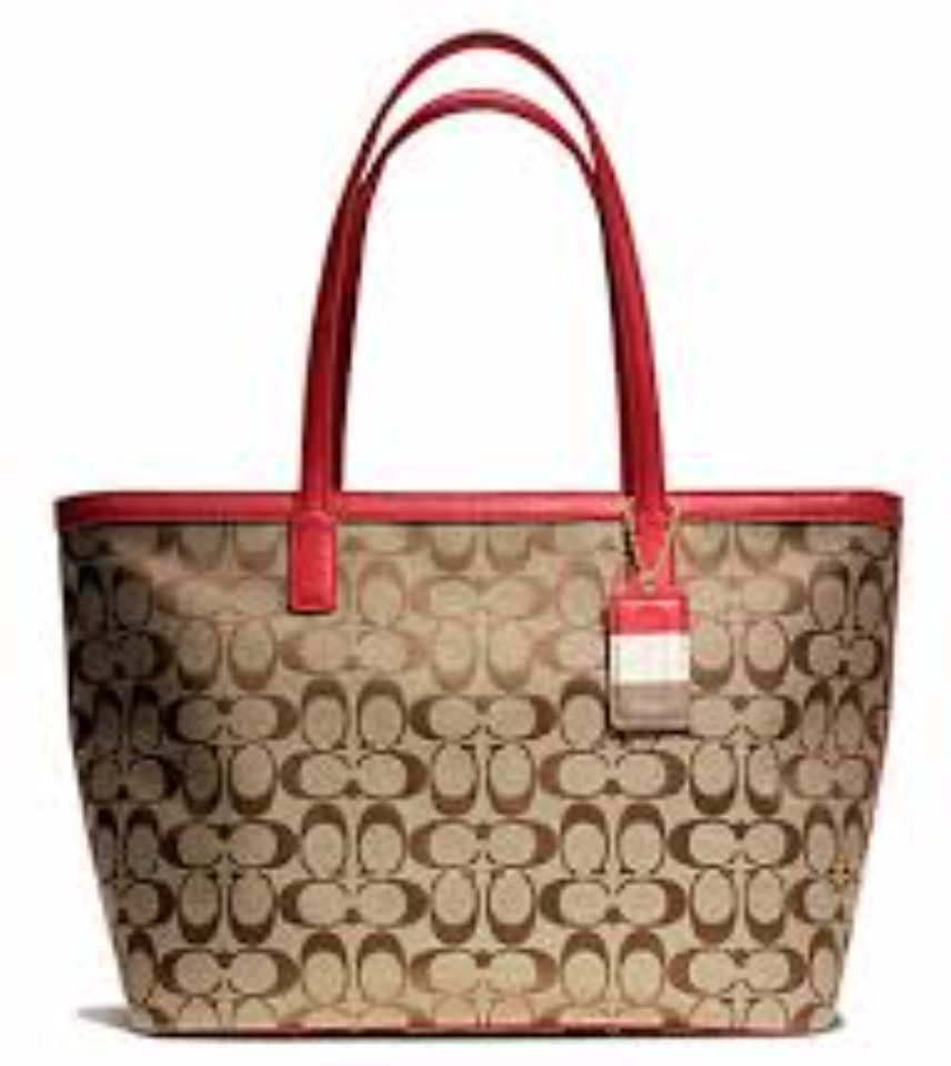 Coach Weekend Signature C Medium Zip Top Tote - Khaki Red 23465, 690, Handbags, Coach