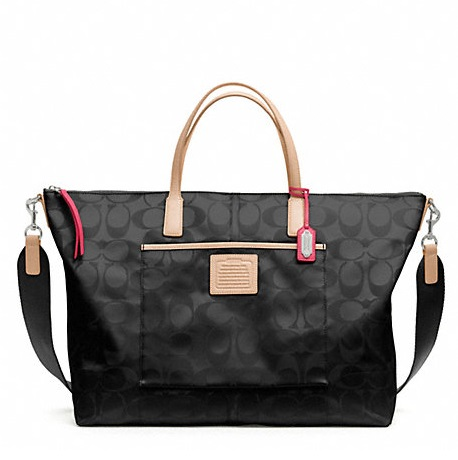 Coach Weekend Signature Nylon Weekender Tote - Black F24863, 690, Handbags, Coach