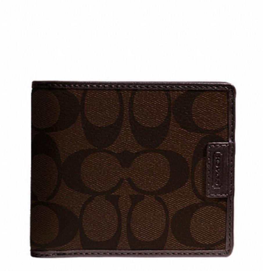 Heritage Signature Compact ID Wallet - Mahogany Brown F74736, 480, Men Wallets, Coach