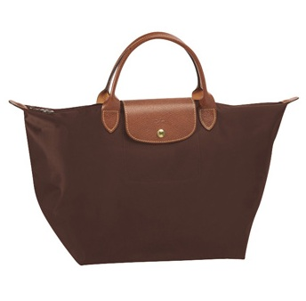 LongChamp Le Pliage Medium Tote Short Handle - Chocolate 1623089-203, 410, Le Pliage, LongChamp
