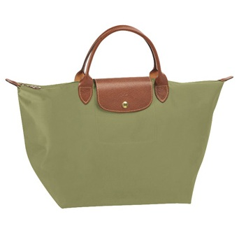 LongChamp Le Pliage Medium Tote Short Handle - Khaki 1623089-292, 410, Le Pliage, LongChamp