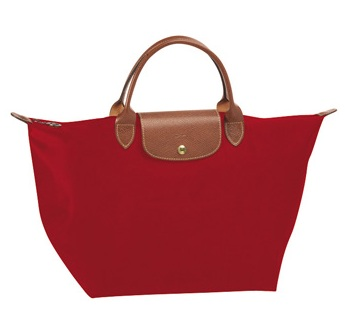 LongChamp Le Pliage Medium Tote Short Handle - Red-1 1623089-545, 410, Le Pliage, LongChamp