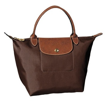 LongChamp Le Pliage Small Handbag Short Handle - Chocolate 1621089-203, 300, Le Pliage, LongChamp