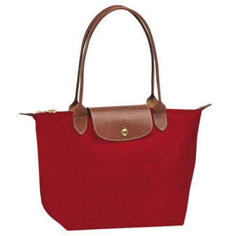 LongChamp Le Pliage Small Tote Long Handle - Red-1 2605089-545, 440, Le Pliage, LongChamp