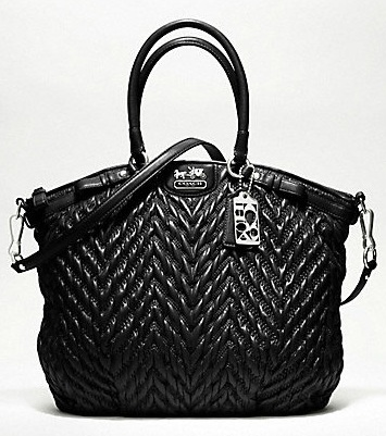 Madison Quilted Chevron Nylon Large Lindsey - Black 18634, 1250, Madison Collection - September 2011, Coach