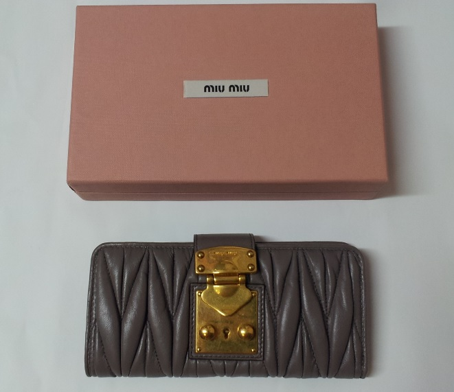 Miu Miu Matelasse Shiny Claft Leather Wallet - Cocco 0, 1390, Wallets, Miu Miu