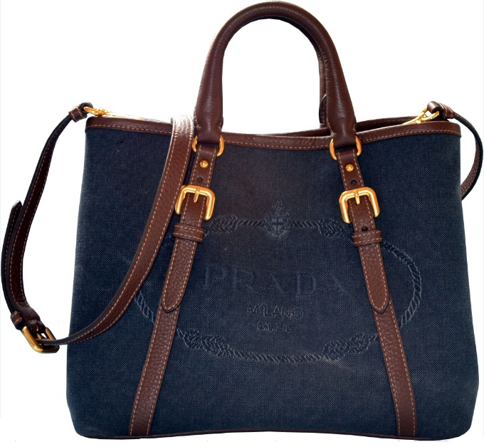 Prada Logo Jacquard Shopping Tote with Crossbody Strap - Denim ...