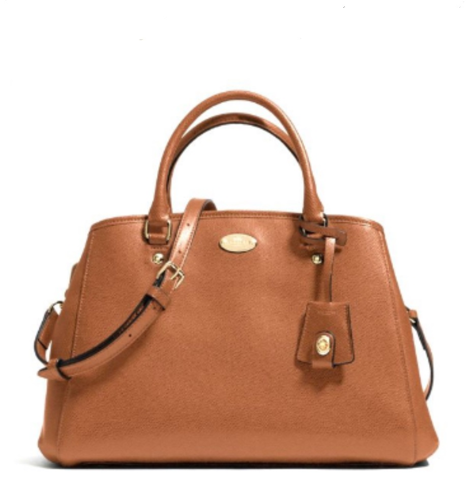 Coach Small Margot Carryall in Leather - Saddle F34607, 890, Handbags, Coach