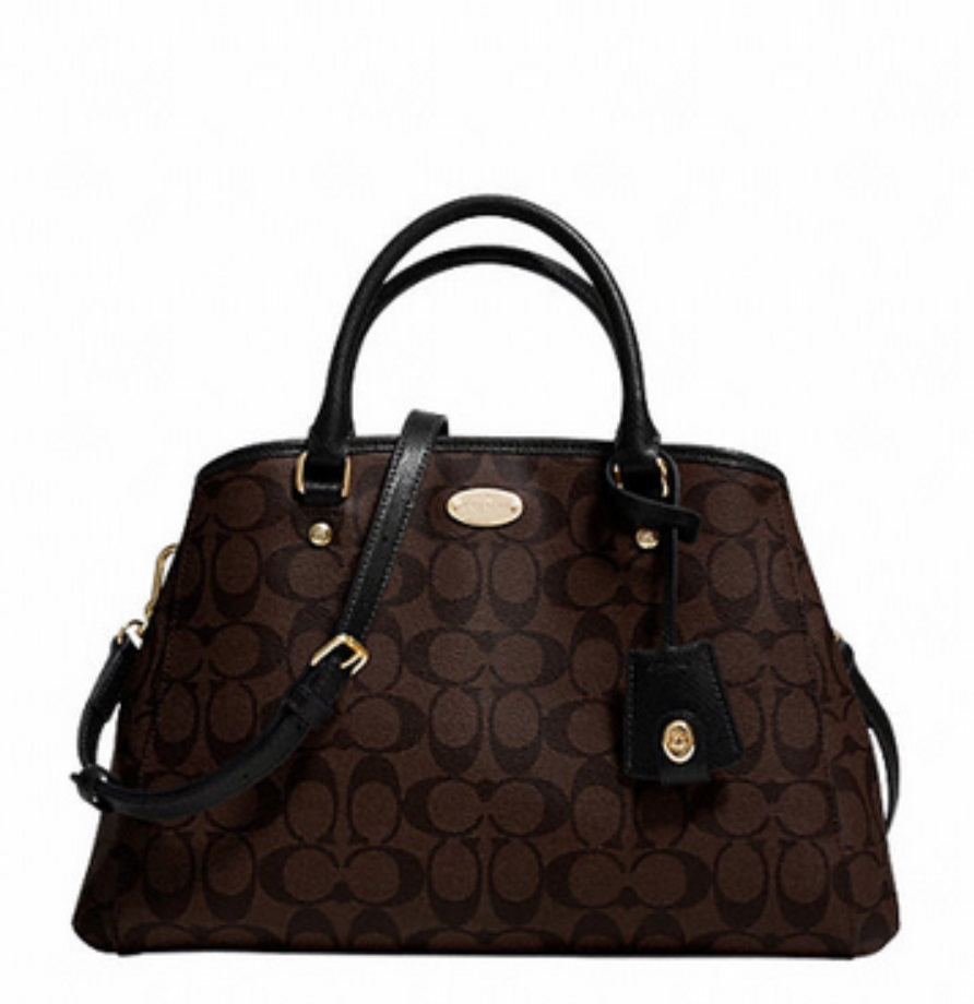 Small Margot Carryall in Signature Canvas - Brown Black F34608, 950, Handbags, Coach
