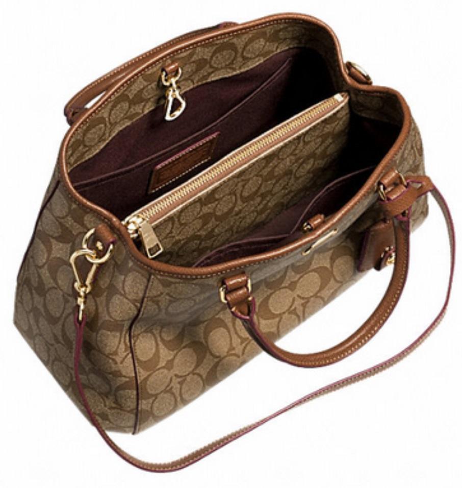 Luxurycometrue Small Margot Carryall In Signature Canvas Brown Coach Black F34608 890 Handbags